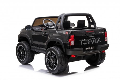 2021 Licensed Painted Metallic Black Toyota Hilux Kids Ride on Car Toy with Parent remote 4 motors and 2 seater
