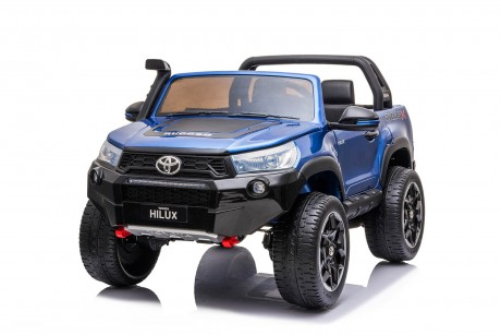 New 2021 Licensed Painted Metallic Blue Toyota Hilux Kids Ride on Car Toy with Parent remote 4 motors and 2 seater