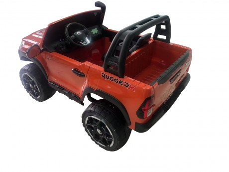 Licensed Painted Metallic Orange Toyota Hilux Kids Ride on Car Toy with Parent remote 4 motors and 2 seater