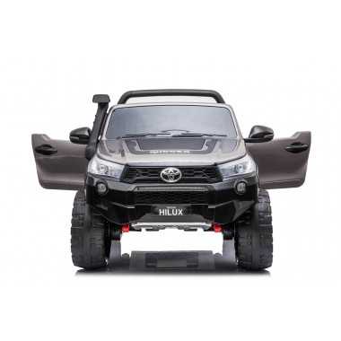 New 2021 Licensed Painted Metallic Grey Toyota Hilux Kids Ride on Car Toy with Parent remote 4 motors and 2 seater