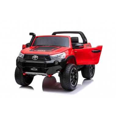 New 2021 Licensed Painted Metallic Red Toyota Hilux Kids Ride on Car Toy with Parent remote 4 motors and 2 seater